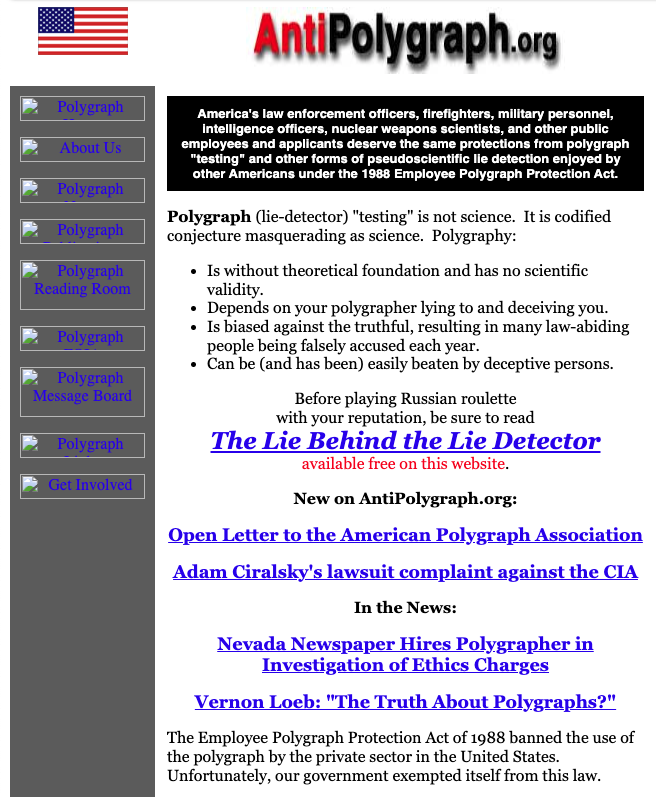Archive.org Wayback Machine's first snapshot of AntiPolygraph.org